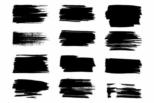 十二款黑色涂鸦线条装饰3393104png图片免抠素材