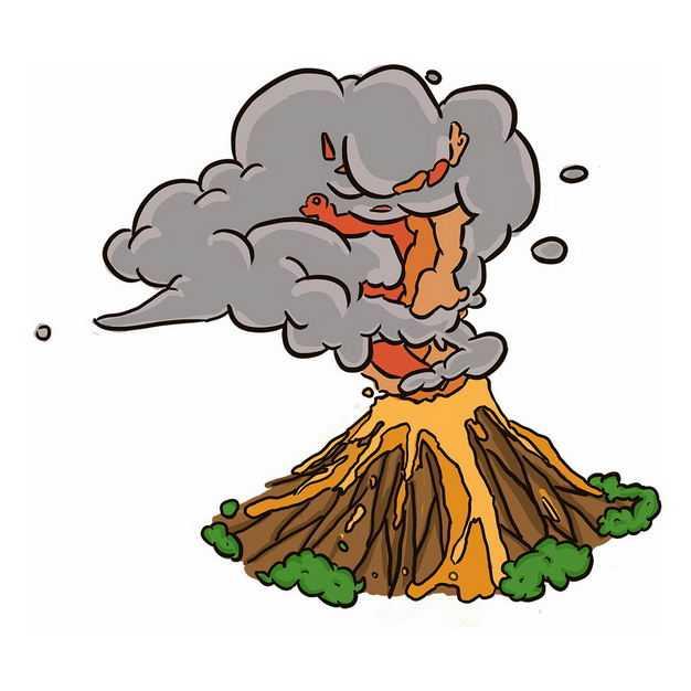 手绘风格卡通火山喷发6619241png图片免抠素材