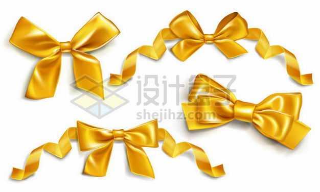 各种金色金属光泽蝴蝶结彩色飘带装饰5308374png图片免抠素材