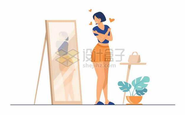 照镜子试衣服的美女扁平插画9341561png图片免抠素材