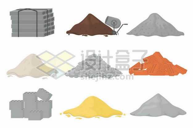 水泥板黄沙水泥石子砖块等建筑材料2426613png图片免抠素材