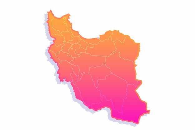 红色渐变色带阴影3D立体伊朗地图1206919png图片免抠素材