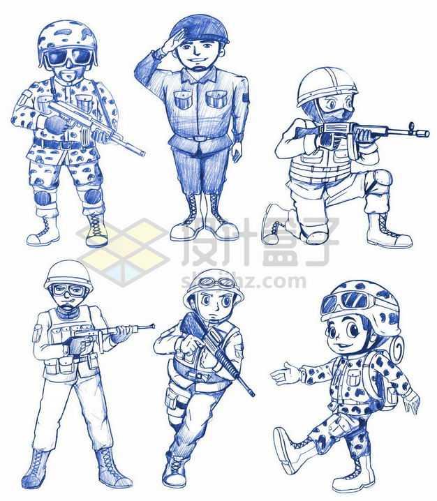 六款蓝色圆珠笔手绘风格士兵军人2647266png图片免抠素材