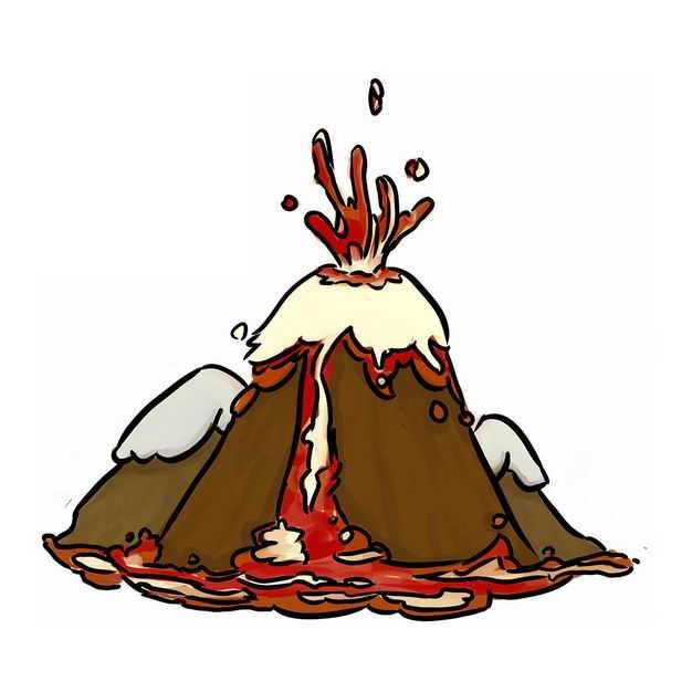 手绘风格卡通活火山冒出的岩浆熔岩3342308png图片免抠素材