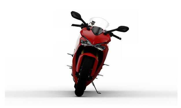 支撑起来的红色运动摩托车正面视角9842611PSD图片素材