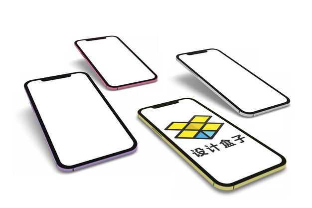四个排列好的手机显示样机2696657PSD图片素材