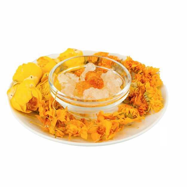 白色盘子中的冰糖和黄玫瑰花茶金盏花金丝皇菊等养生花茶938051png图片免抠素材