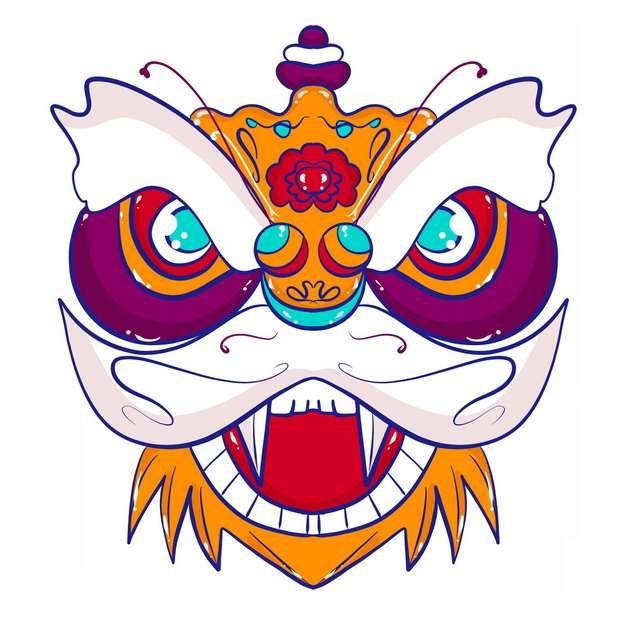 新年春节节日活动上的卡通舞狮子头部图案7153122png图片免抠素材