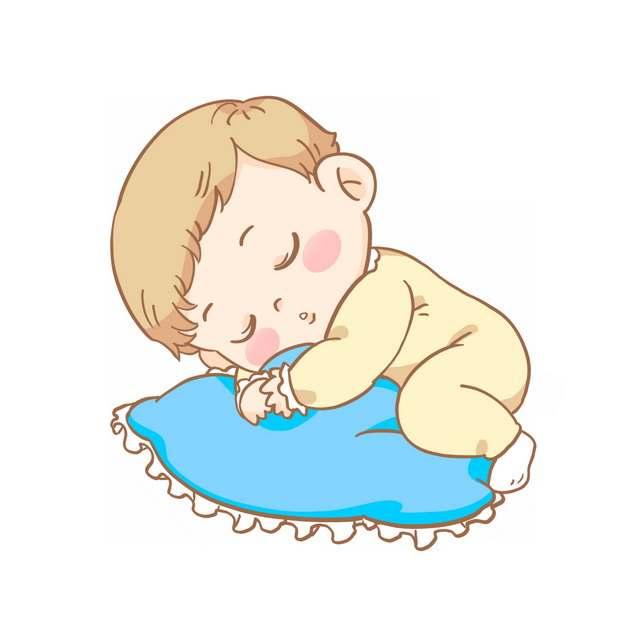 可爱的卡通宝宝抱着枕头睡觉517317PSD图片免抠素材