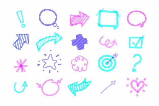 涂鸦风格感叹号箭头五角星等手绘图案2344903png图片免抠素材
