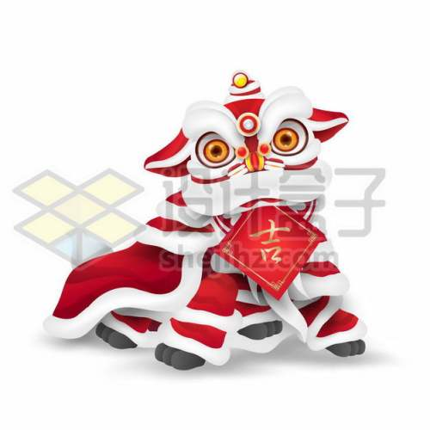 春节新年中国传统文化舞狮子吉字贴纸5017148png图片免抠素材