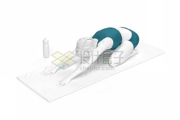 3D立体趴在瑜伽垫上前屈式瑜伽动作瑜伽姿势人体模型9429092图片免抠素材