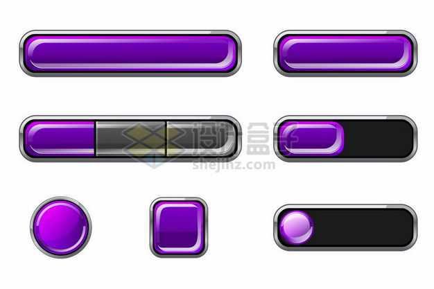 各种紫色水晶按钮4434309png图片免抠素材