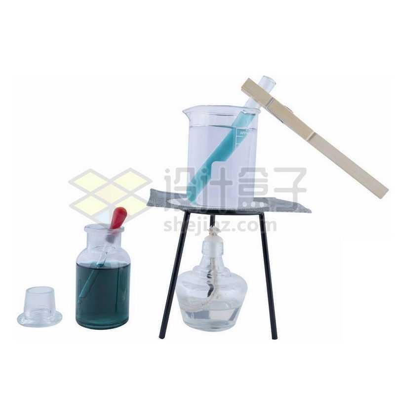 玻璃广口试剂瓶烧杯滴管试管酒精灯石棉网等化学实验仪器1827507png图片免抠素材