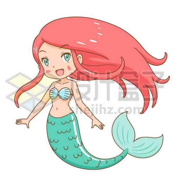 红头发的卡通美人鱼3246212png图片免抠素材