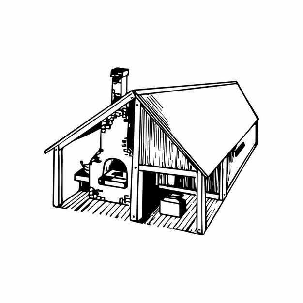 小木屋黑白色插画2495063EPS图片免抠素材