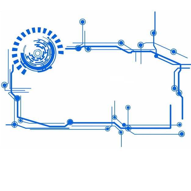 蓝色线条科幻边框装饰469786PSD图片免抠素材