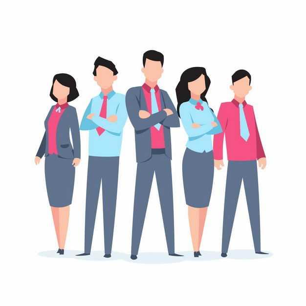 五个商务人士摆出专业pose姿势扁平插画3615649EPS图片免抠素材