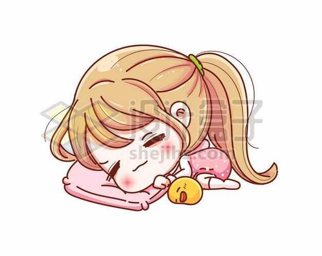 超可爱趴着睡觉的卡通女孩9534646png图片免抠素材