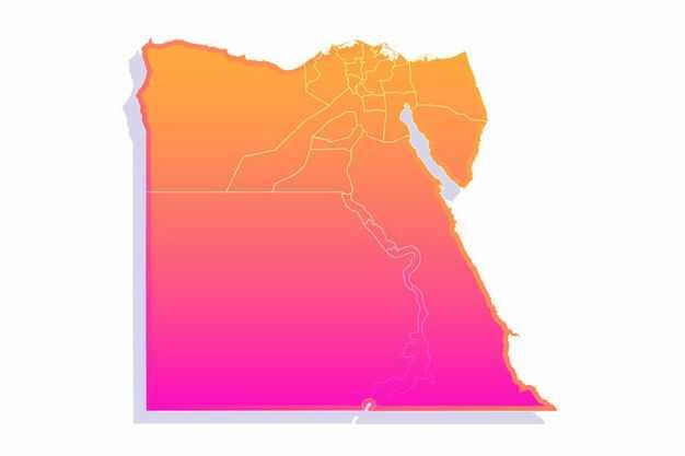 红色渐变色带阴影3D立体埃及地图4308483png图片免抠素材