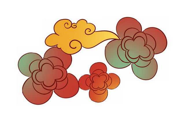 手绘风格彩色祥云图案7868675PSD图片免抠素材