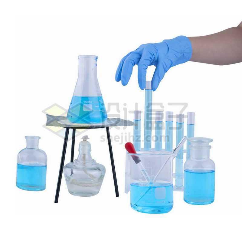 酒精灯石棉网上的锥形瓶和玻璃广口试剂瓶烧杯滴管试管等化学实验仪器9305061png图片免抠素材