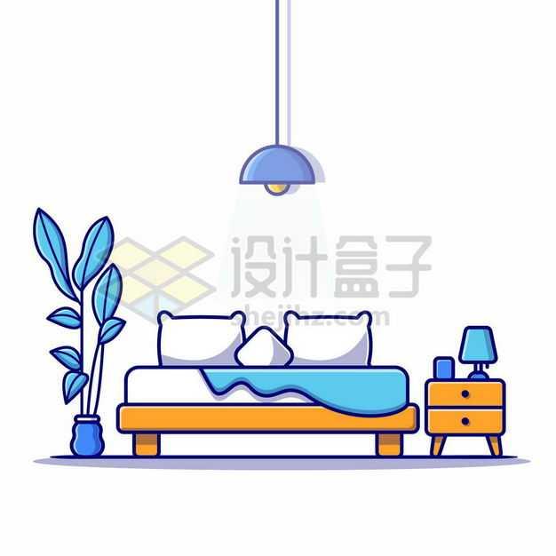 MBE风格卧室中的大床和床头柜1369301png图片免抠素材