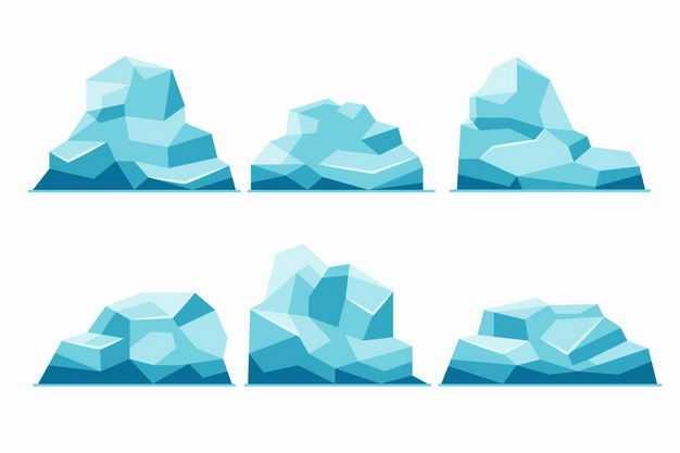 六款露出水面的南极北极蓝色冰山浮冰6942237EPS图片免抠素材