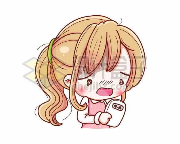超可爱卡通女孩正在玩手机9958727png图片免抠素材
