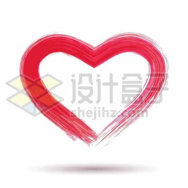 手绘涂鸦风格红色心形图案8623460png图片免抠素材