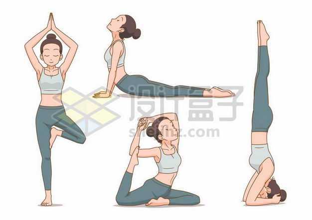 四款正在做瑜伽动作的卡通美女9152934png图片免抠素材