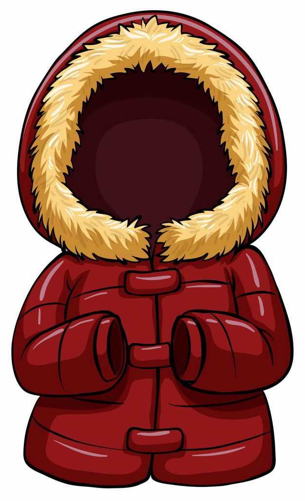 深红色的卡通棉衣羽绒服7921709EPS图片免抠素材