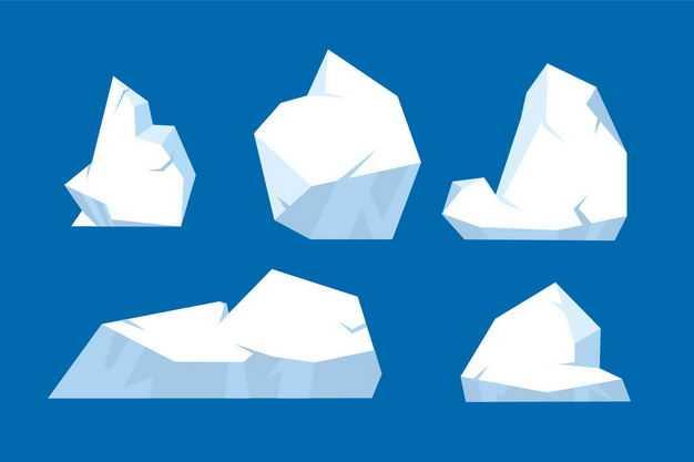 五款扁平化风格南极北极的冰山浮冰3395031EPS图片免抠素材