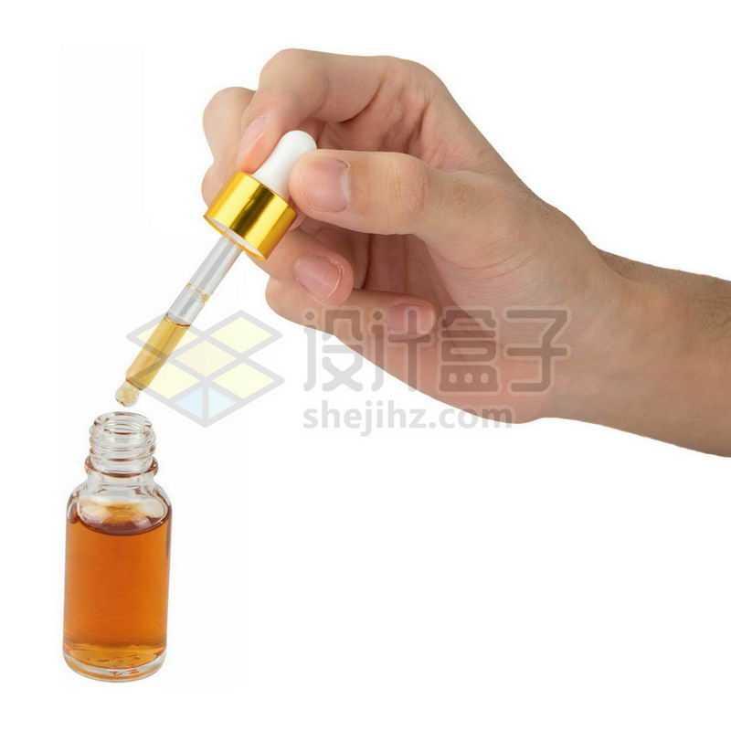 一只手操作滴管密封精油滴瓶棕色玻璃瓶9541880png图片免抠素材