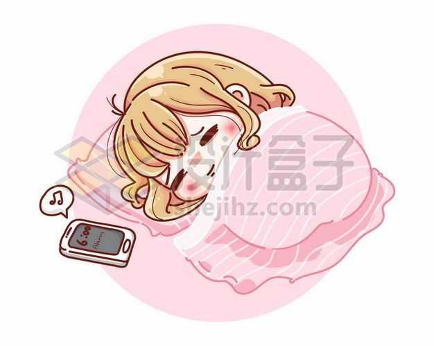 超可爱卡通女孩正在睡觉手机闹钟响了2730110png图片免抠素材
