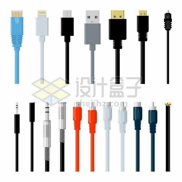 USB接口RJ-45网线接口耳机线接口等各类数据线接口1697869png图片免抠素材