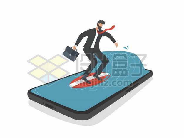 拎着公文包在手机上冲浪的商务人士8829281png图片免抠素材