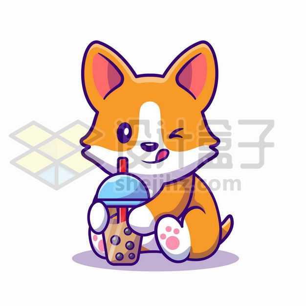 MBE风格喝珍珠奶茶的卡通日本柴犬7553888png图片免抠素材