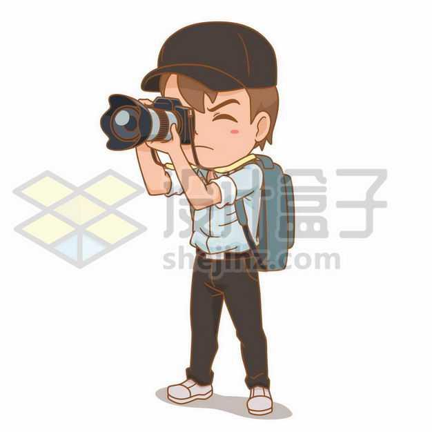 卡通男孩拿着照相机拍照旅行者5359374png图片免抠素材