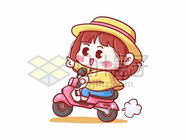 超可爱卡通小女孩骑着电动车摩托车3300024png图片免抠素材
