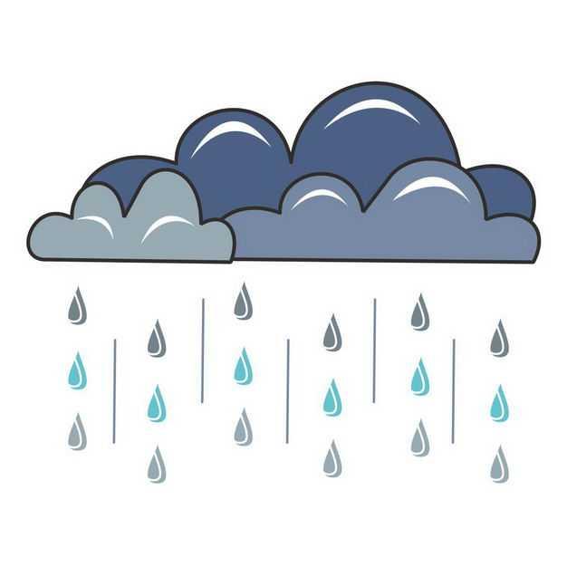 手绘风格乌云和下雨4424471png图片免抠素材