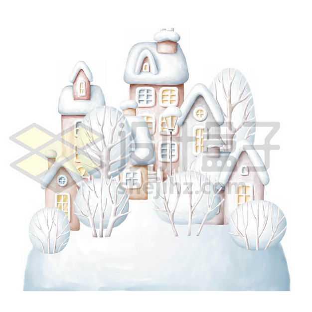 3D卡通风格冬天大雪覆盖的房子小镇9420103PSD图片免抠素材