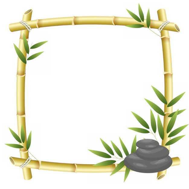 竹竿竹叶竹子组成的方形边框3447516png图片免抠素材