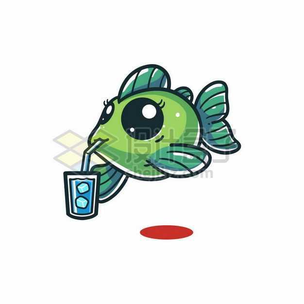 可爱的卡通小鱼正在喝果汁饮料7725328png图片免抠素材