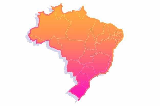 红色渐变色带阴影3D立体巴西地图6747389png图片免抠素材
