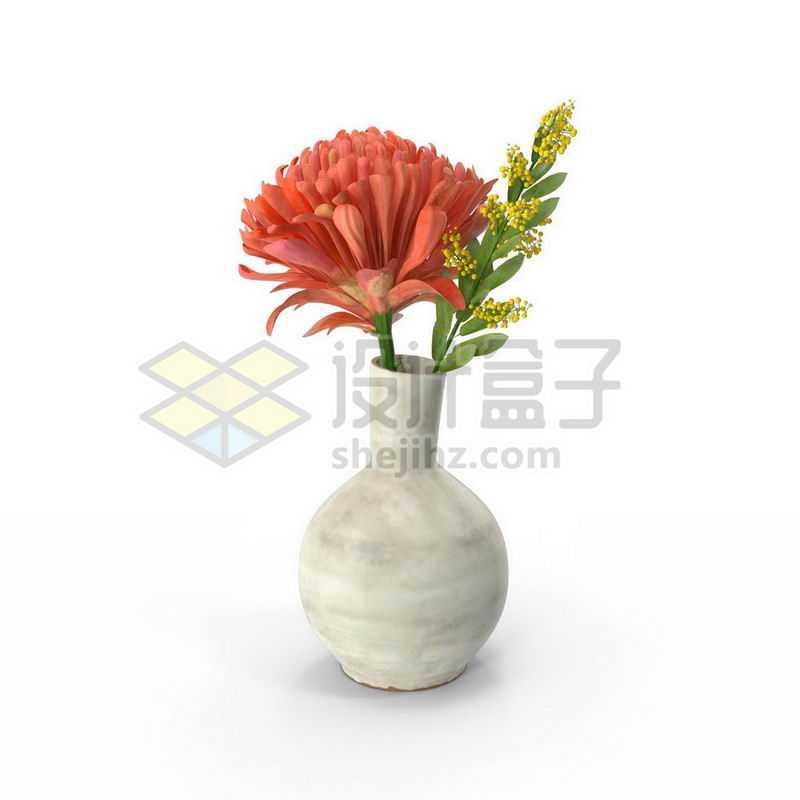 花瓶中的红色鲜花和黄色小花2463997图片免抠素材