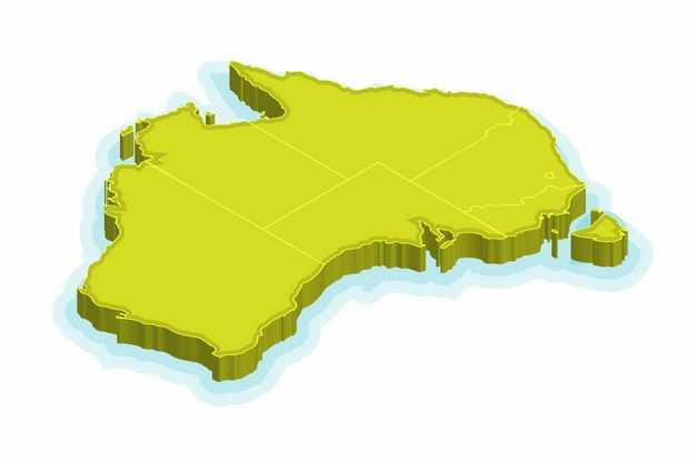绿色3D立体澳大利亚澳洲地图3120078png图片免抠素材