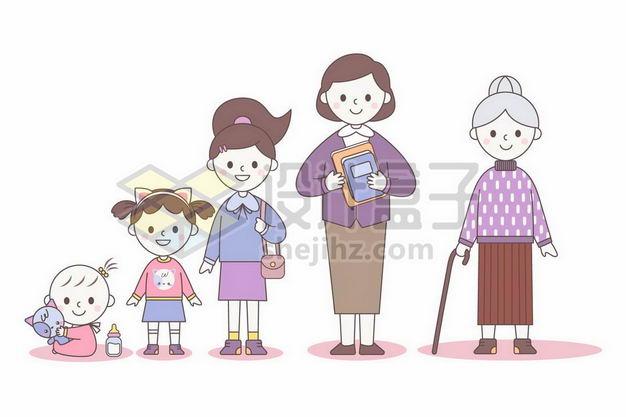 卡通婴儿长大成小女孩成为中年女性成为老奶奶女性的一生2259906png图片免抠素材 人物素材-第1张
