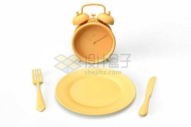 3D立体黄色闹钟和餐盘刀叉等西餐餐具模型2521897图片免抠素材