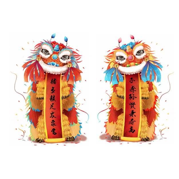 中国新年春节舞狮子打开对联779066PSD图片免抠素材
